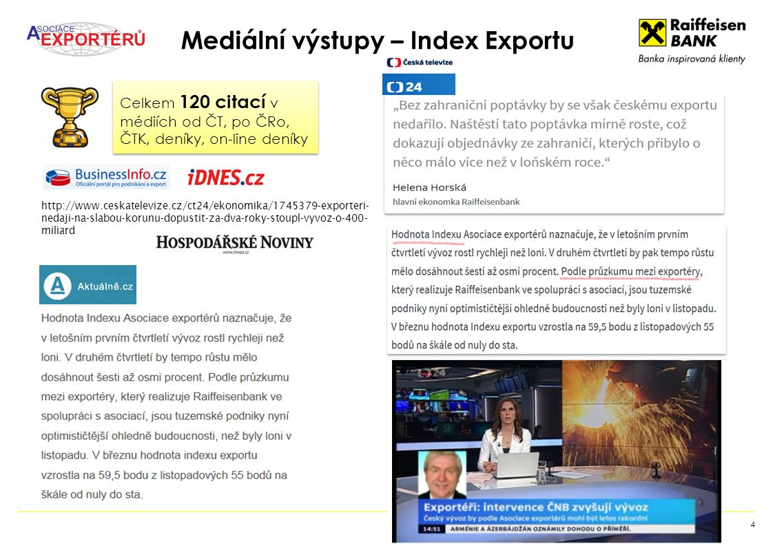 Mediální výstupy – Index Exportu 4 http://www.ceskatelevize.cz/ct24/ekonomika/1745379-exporteri- nedaji-na-slabou-korunu-dopustit-za-dva-roky-stoupl-vyvoz-o-400- miliard Celkem 120 citací v médiích od ČT, po ČRo, ČTK, deníky, on-line deníky