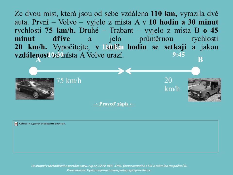 Ze dvou míst, která jsou od sebe vzdálena 110 km, vyrazila dvě auta. První – Volvo – vyjelo z místa A v 10 hodin a 30 minut rychlostí 75 km/h. Druhé –