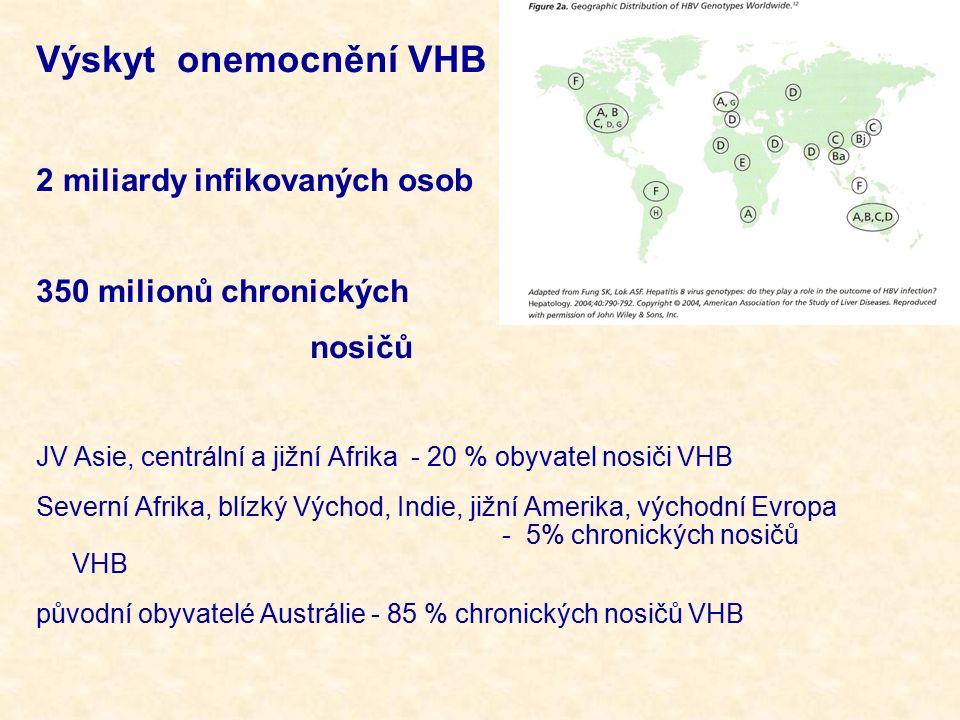 Výskyt onemocnění VHB 2 miliardy infikovaných osob 350 milionů chronických nosičů JV Asie, centrální a jižní Afrika - 20 % obyvatel nosiči VHB Severní Afrika, blízký Východ, Indie, jižní Amerika, východní Evropa - 5% chronických nosičů VHB původní obyvatelé Austrálie - 85 % chronických nosičů VHB
