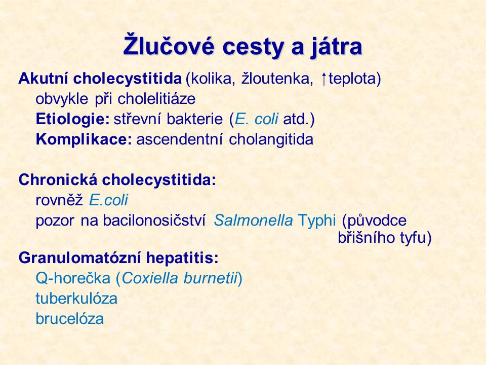 Žlučové cesty a játra Akutní cholecystitida (kolika, žloutenka,  teplota) obvykle při cholelitiáze Etiologie: střevní bakterie (E. coli atd.) Komplik
