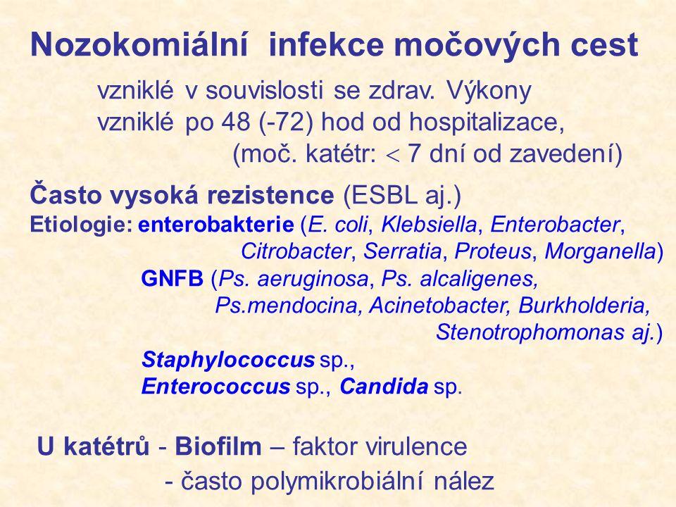 Nozokomiální infekce močových cest vzniklé v souvislosti se zdrav. Výkony vzniklé po 48 (-72) hod od hospitalizace, (moč. katétr:  7 dní od zavedení)