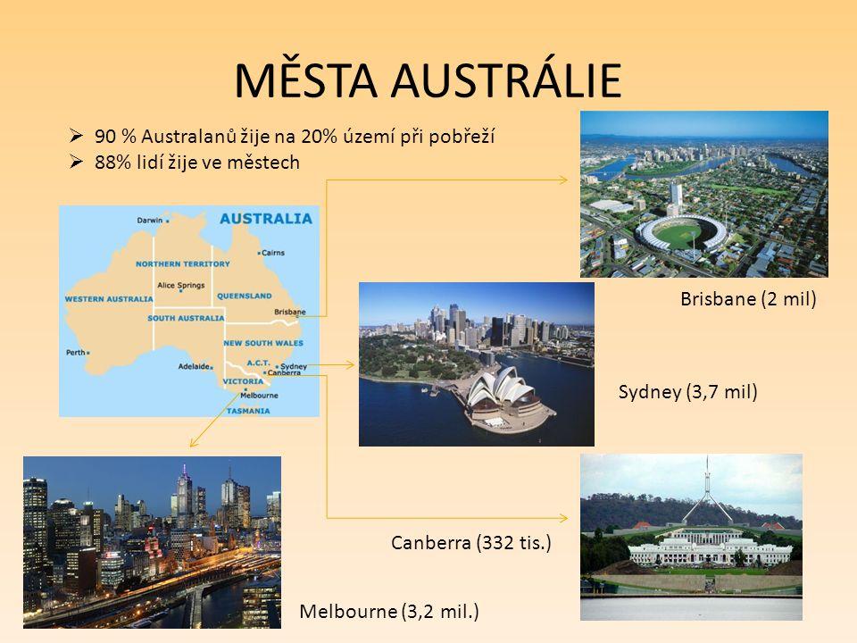 MĚSTA AUSTRÁLIE  90 % Australanů žije na 20% území při pobřeží  88% lidí žije ve městech Sydney (3,7 mil) Melbourne (3,2 mil.) Brisbane (2 mil) Canberra (332 tis.)