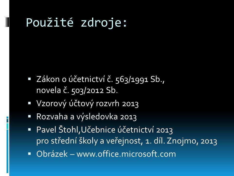 Použité zdroje:  Zákon o účetnictví č.563/1991 Sb., novela č.