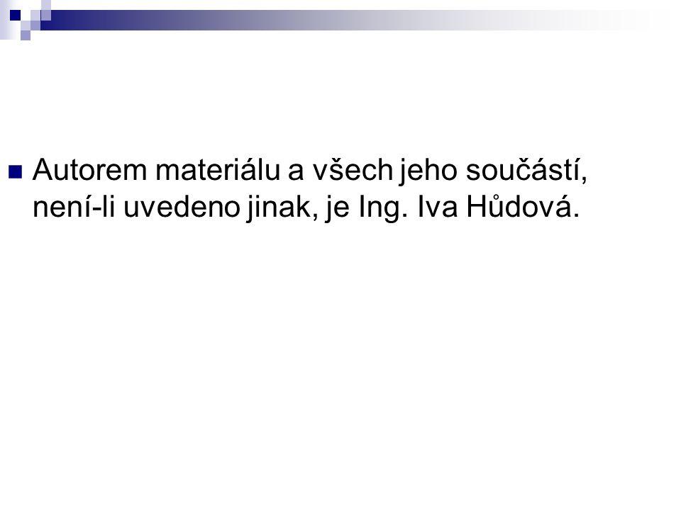 Autorem materiálu a všech jeho součástí, není-li uvedeno jinak, je Ing. Iva Hůdová.
