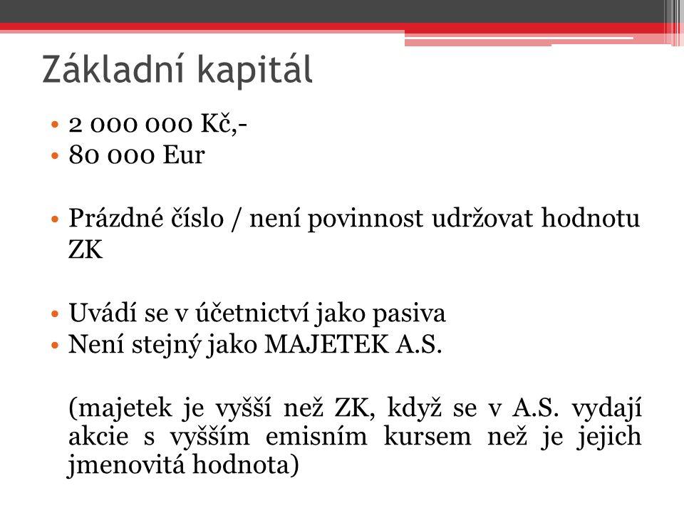 Základní kapitál 2 000 000 Kč,- 80 000 Eur Prázdné číslo / není povinnost udržovat hodnotu ZK Uvádí se v účetnictví jako pasiva Není stejný jako MAJET