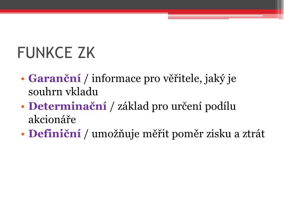 FUNKCE ZK Garanční / informace pro věřitele, jaký je souhrn vkladu Determinační / základ pro určení podílu akcionáře Definiční / umožňuje měřit poměr