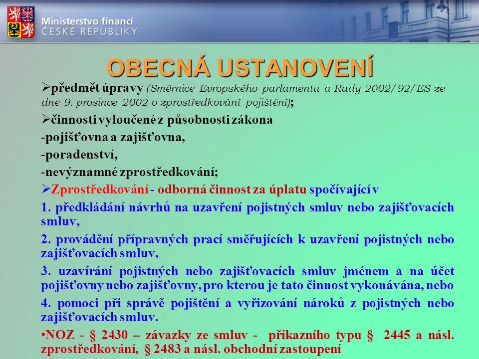 OBECNÁ USTANOVENÍ  předmět úpravy ( Směrnice Evropského parlamentu a Rady 2002/92/ES ze dne 9. prosince 2002 o zprostředkování pojištění) ;  činnost