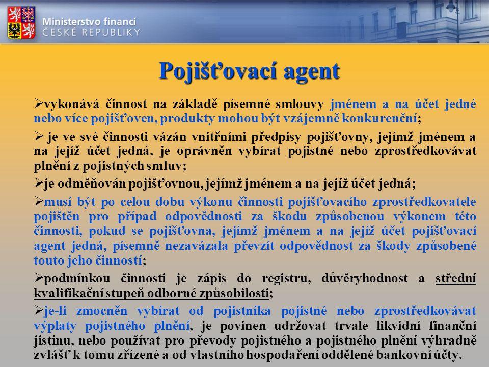 Pojišťovací agent  vykonává činnost na základě písemné smlouvy jménem a na účet jedné nebo více pojišťoven, produkty mohou být vzájemně konkurenční;