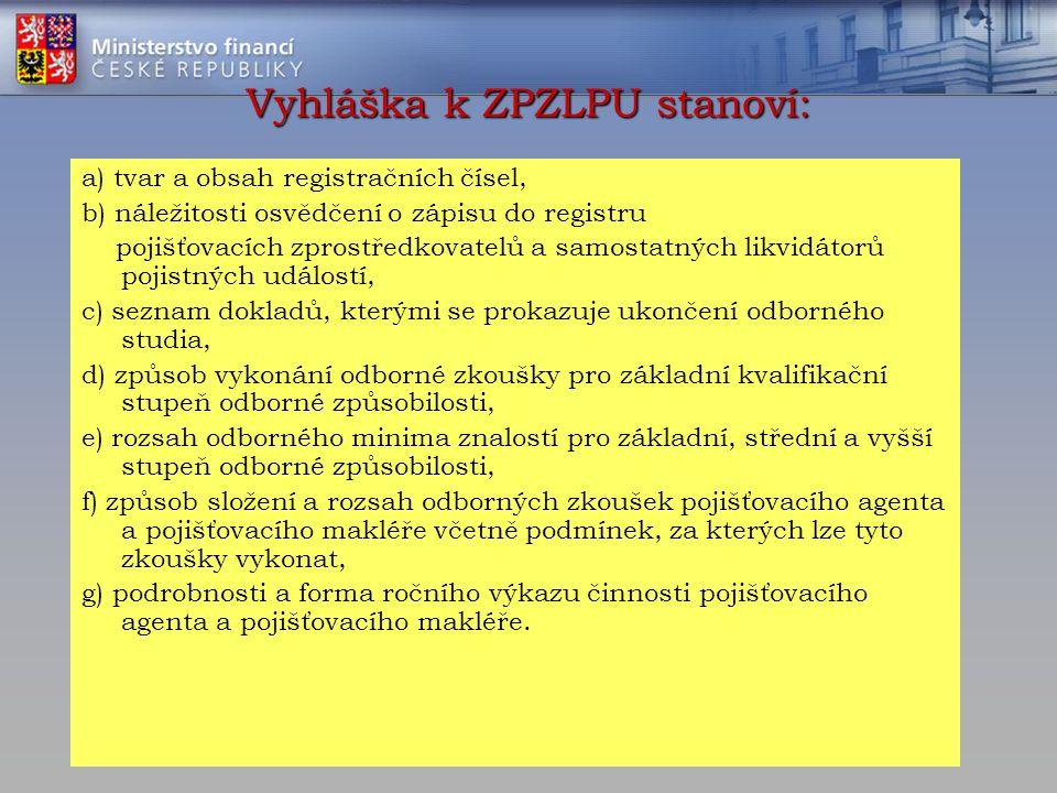Vyhláška k ZPZLPU stanoví: a) tvar a obsah registračních čísel, b) náležitosti osvědčení o zápisu do registru pojišťovacích zprostředkovatelů a samost
