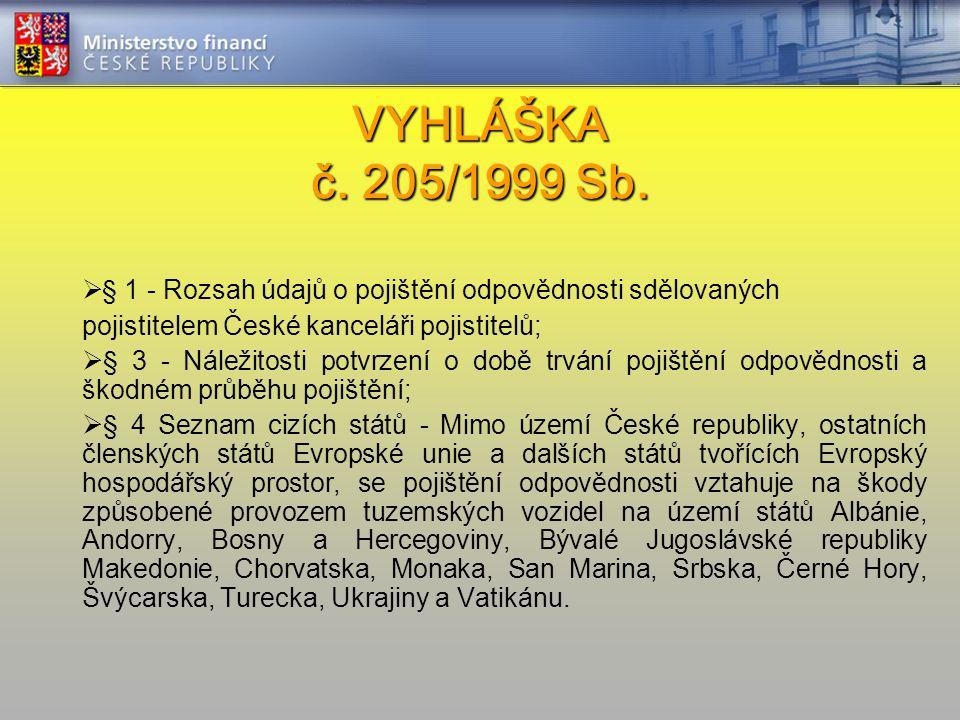 VYHLÁŠKA č. 205/1999 Sb. VYHLÁŠKA č. 205/1999 Sb.  § 1 - Rozsah údajů o pojištění odpovědnosti sdělovaných pojistitelem České kanceláři pojistitelů;