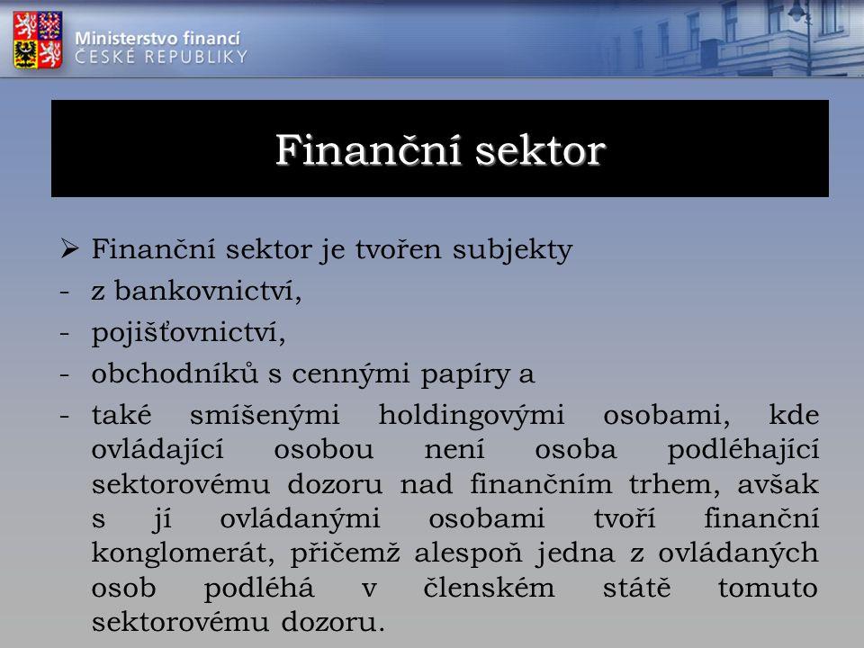  Finanční sektor je tvořen subjekty -z bankovnictví, -pojišťovnictví, -obchodníků s cennými papíry a -také smíšenými holdingovými osobami, kde ovláda