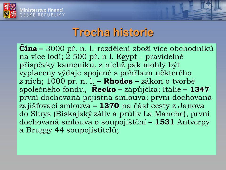 Trocha historie Čína Rhodos Řecko 1347 1370 Čína – 3000 př. n. l.-rozdělení zboží více obchodníků na více lodí; 2 500 př. n l. Egypt - pravidelné přís