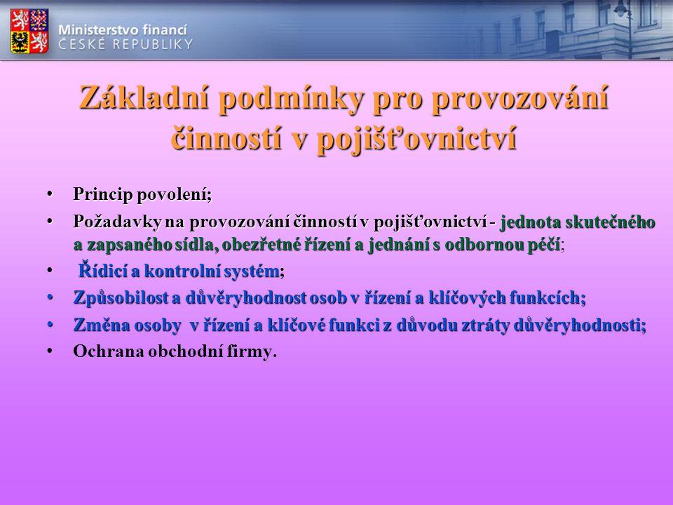 Základní podmínky pro provozování činností v pojišťovnictví Princip povolení; Princip povolení; Požadavky na provozování činností v pojišťovnictví - j