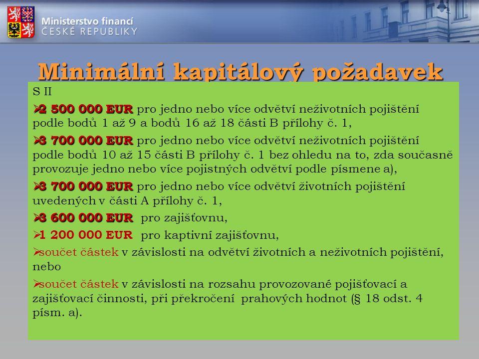 Minimální kapitálový požadavek S II  2 500 000 EUR  2 500 000 EUR pro jedno nebo více odvětví neživotních pojištění podle bodů 1 až 9 a bodů 16 až 1