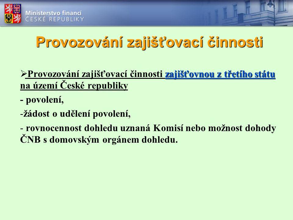 Provozování zajišťovací činnosti zajišťovnou z třetího státu  Provozování zajišťovací činnosti zajišťovnou z třetího státu na území České republiky -