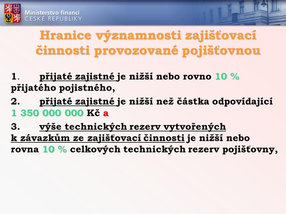 Hranice významnosti zajišťovací činnosti provozované pojišťovnou 10 % 1. přijaté zajistné je nižší nebo rovno 10 % přijatého pojistného, 1 350 000 000
