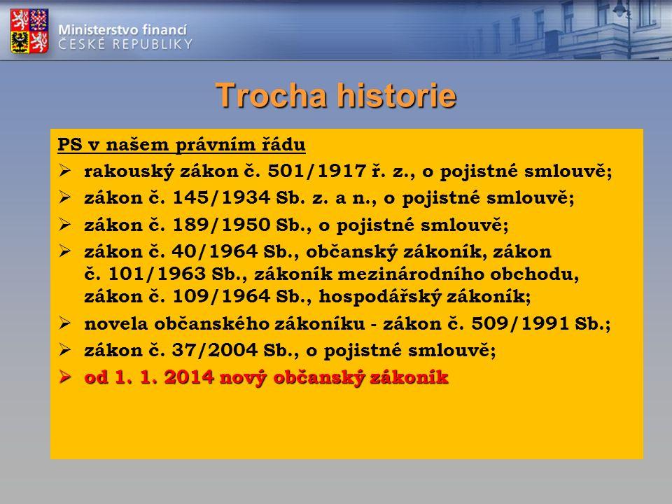 Trocha historie PS v našem právním řádu  rakouský zákon č. 501/1917 ř. z., o pojistné smlouvě;  zákon č. 145/1934 Sb. z. a n., o pojistné smlouvě; 