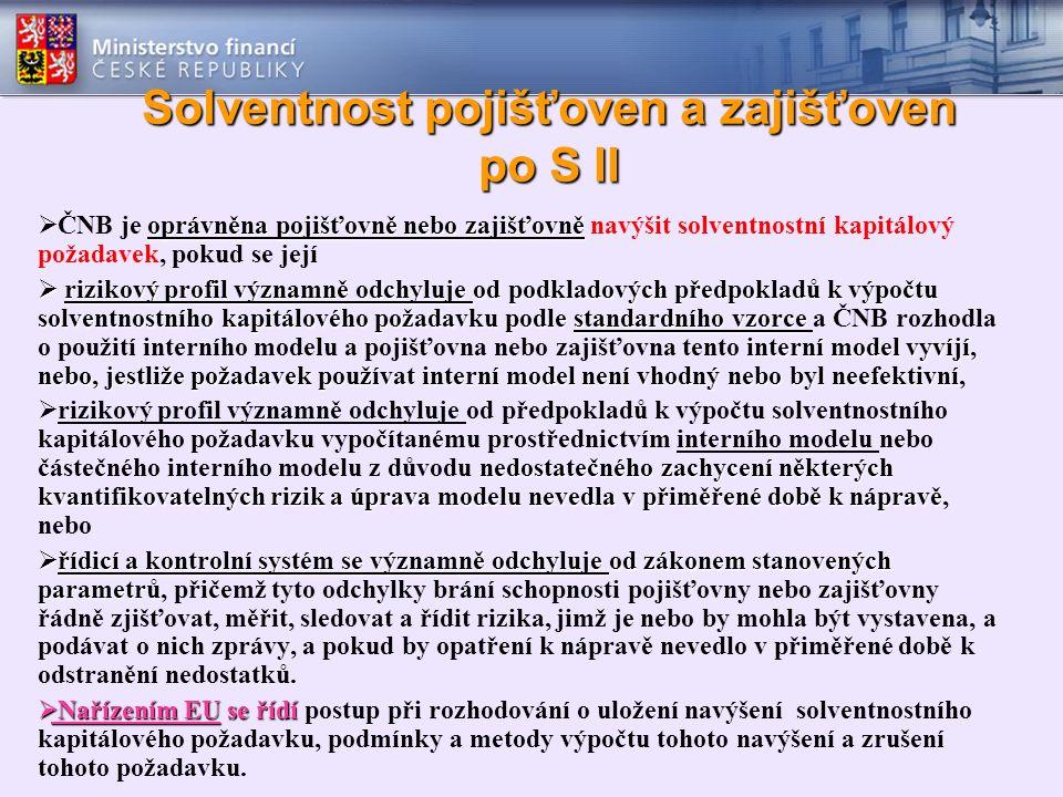 Solventnost pojišťoven a zajišťoven po S II oprávněna pojišťovně nebo zajišťovně  ČNB je oprávněna pojišťovně nebo zajišťovně navýšit solventnostní k