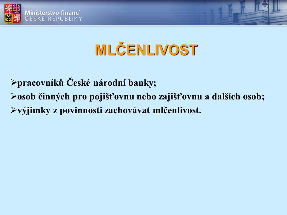 MLČENLIVOST  pracovníků České národní banky;  osob činných pro pojišťovnu nebo zajišťovnu a dalších osob;  výjimky z povinnosti zachovávat mlčenliv