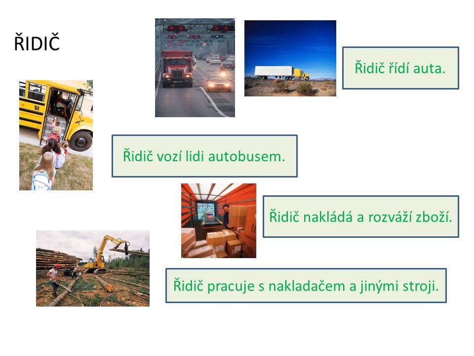 Řidič řídí auta.Řidič vozí lidi autobusem. Řidič nakládá a rozváží zboží.