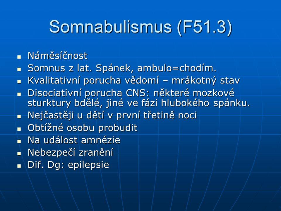 Somnabulismus (F51.3) Náměsíčnost Náměsíčnost Somnus z lat.
