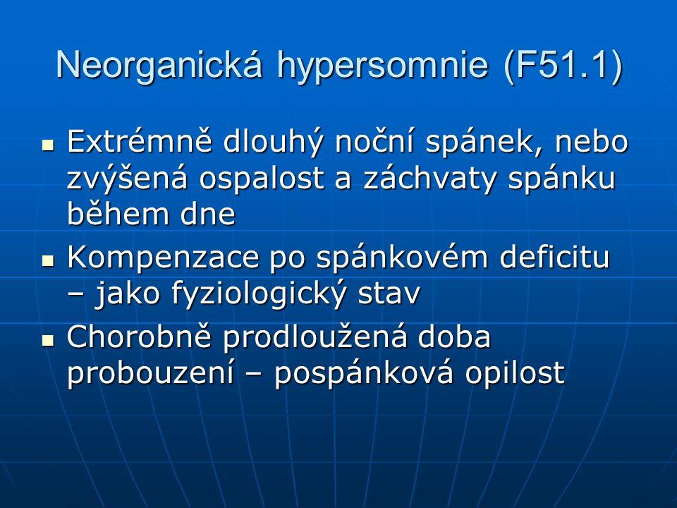 Neorganická hypersomnie (F51.1) Extrémně dlouhý noční spánek, nebo zvýšená ospalost a záchvaty spánku během dne Extrémně dlouhý noční spánek, nebo zvýšená ospalost a záchvaty spánku během dne Kompenzace po spánkovém deficitu – jako fyziologický stav Kompenzace po spánkovém deficitu – jako fyziologický stav Chorobně prodloužená doba probouzení – pospánková opilost Chorobně prodloužená doba probouzení – pospánková opilost