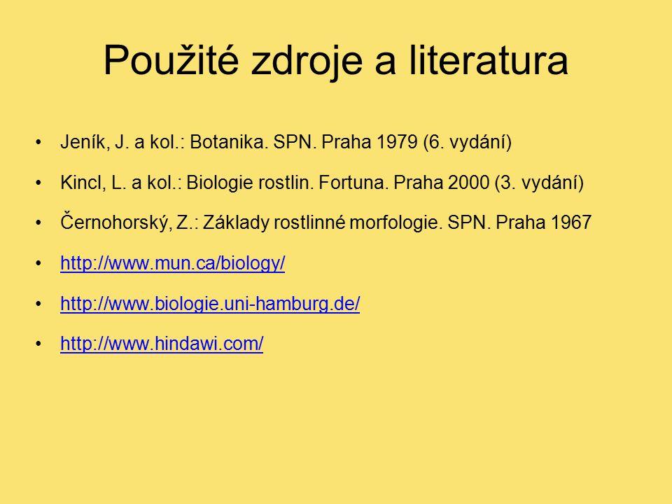 Použité zdroje a literatura Jeník, J. a kol.: Botanika. SPN. Praha 1979 (6. vydání) Kincl, L. a kol.: Biologie rostlin. Fortuna. Praha 2000 (3. vydání