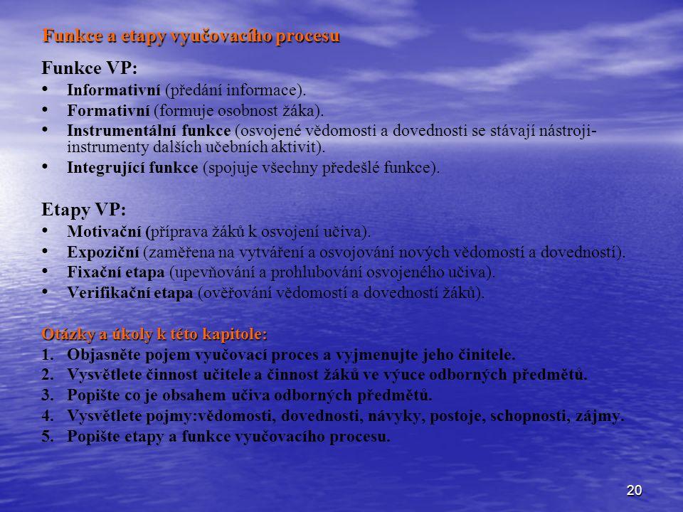20 Funkce a etapy vyučovacího procesu Funkce VP: Informativní (předání informace).