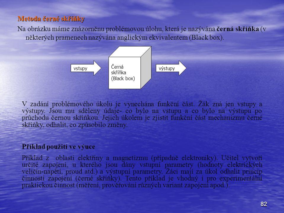 82 Metoda černé skříňky Na obrázku máme znázorněnu problémovou úlohu, která je nazývána černá skříňka (v některých pramenech nazývána anglickým ekvivalentem (Black box).