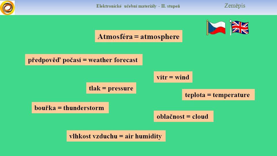 Elektronické učební materiály - II. stupeň Zeměpis vítr = wind předpověď počasí = weather forecast vlhkost vzduchu = air humidity bouřka = thunderstor