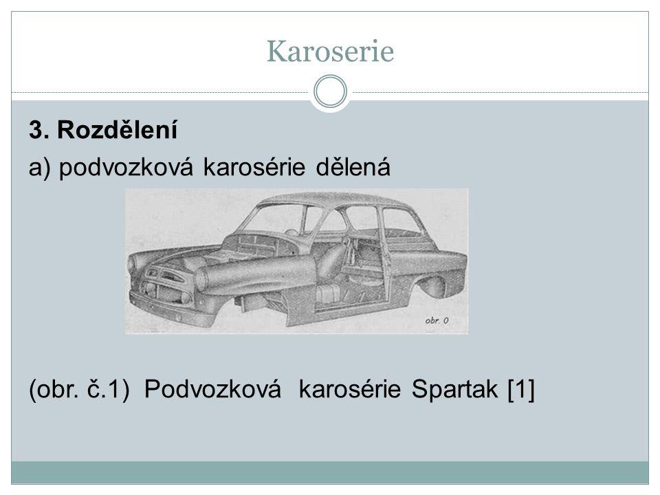 Karoserie 3. Rozdělení a) podvozková karosérie dělená (obr. č.1) Podvozková karosérie Spartak [1]