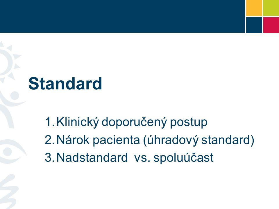 Standard 1.Klinický doporučený postup 2.Nárok pacienta (úhradový standard) 3.Nadstandard vs.