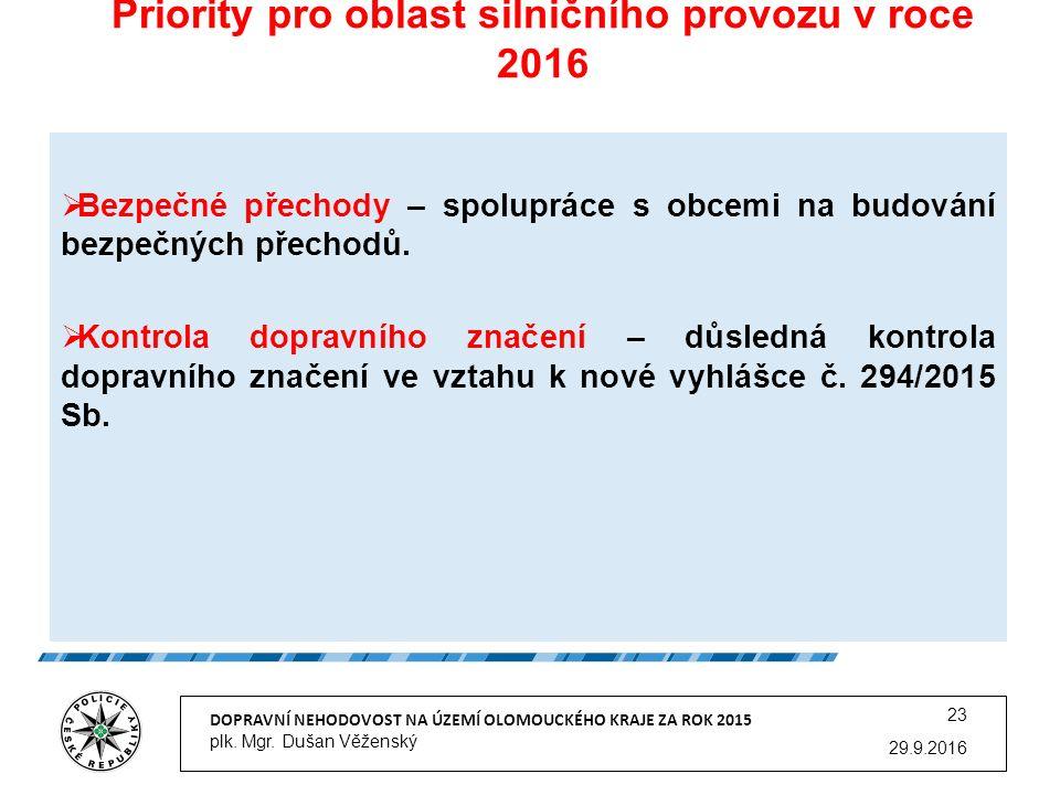 Priority pro oblast silničního provozu v roce 2016 29.9.2016 DOPRAVNÍ NEHODOVOST NA ÚZEMÍ OLOMOUCKÉHO KRAJE ZA ROK 2015 plk.