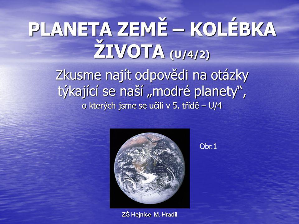 """PLANETA ZEMĚ – KOLÉBKA ŽIVOTA (U/4/2) Zkusme najít odpovědi na otázky týkající se naší """"modré planety , o kterých jsme se učili v 5."""