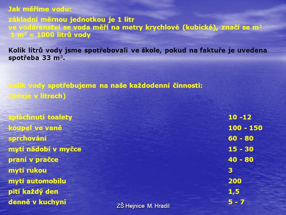 Jak měříme vodu: základní měrnou jednotkou je 1 litr ve vodárenství se voda měří na metry krychlové (kubické), značí se m 3 1 m 3 = 1000 litrů vody Kolik litrů vody jsme spotřebovali ve škole, pokud na faktuře je uvedena spotřeba 33 m 3.