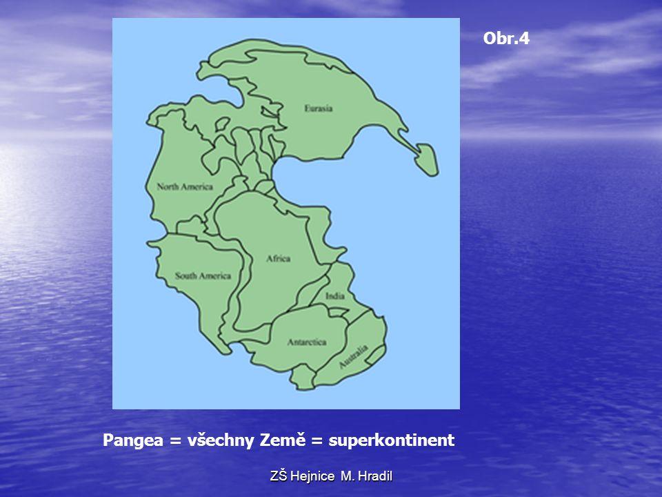 Pangea = všechny Země = superkontinent Obr.4 ZŠ Hejnice M. Hradil