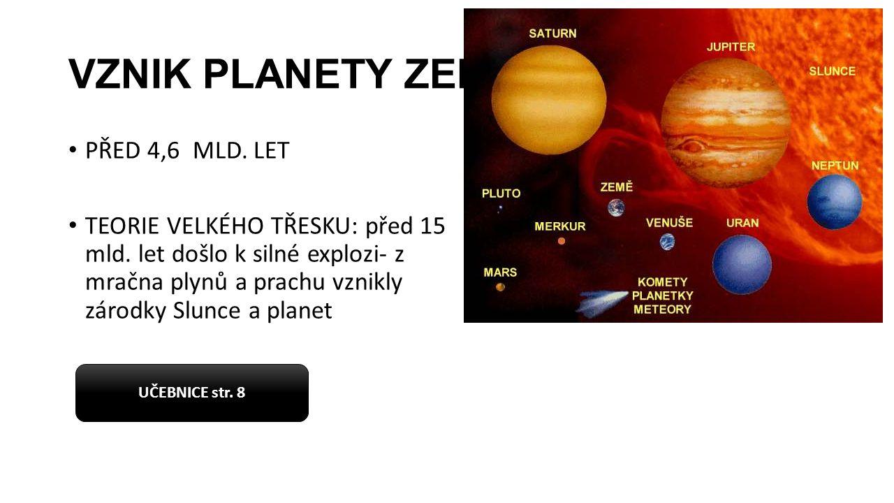 VZNIK PLANETY ZEMĚ PŘED 4,6 MLD. LET TEORIE VELKÉHO TŘESKU: před 15 mld. let došlo k silné explozi- z mračna plynů a prachu vznikly zárodky Slunce a p