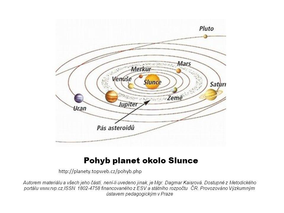 Pohyb planet okolo Slunce http://planety.topweb.cz/pohyb.php Autorem materiálu a všech jeho částí, není-li uvedeno jinak, je Mgr.