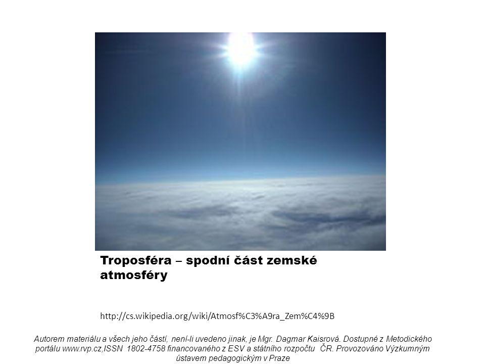 Troposféra – spodní část zemské atmosféry http://cs.wikipedia.org/wiki/Atmosf%C3%A9ra_Zem%C4%9B Autorem materiálu a všech jeho částí, není-li uvedeno jinak, je Mgr.