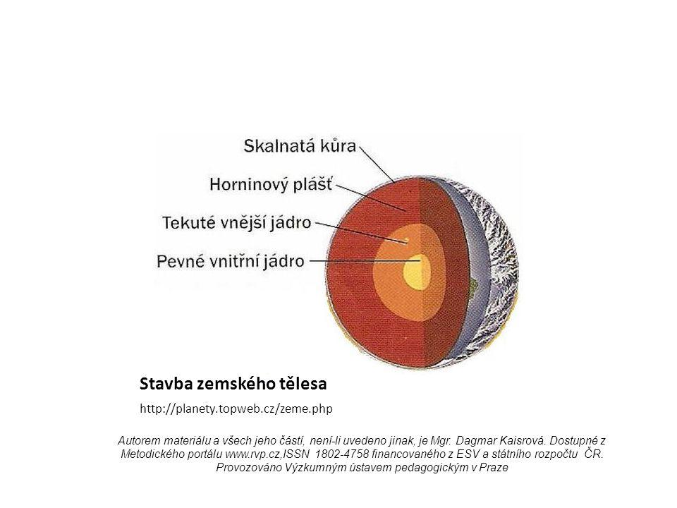 Stavba zemského tělesa http://planety.topweb.cz/zeme.php Autorem materiálu a všech jeho částí, není-li uvedeno jinak, je Mgr.