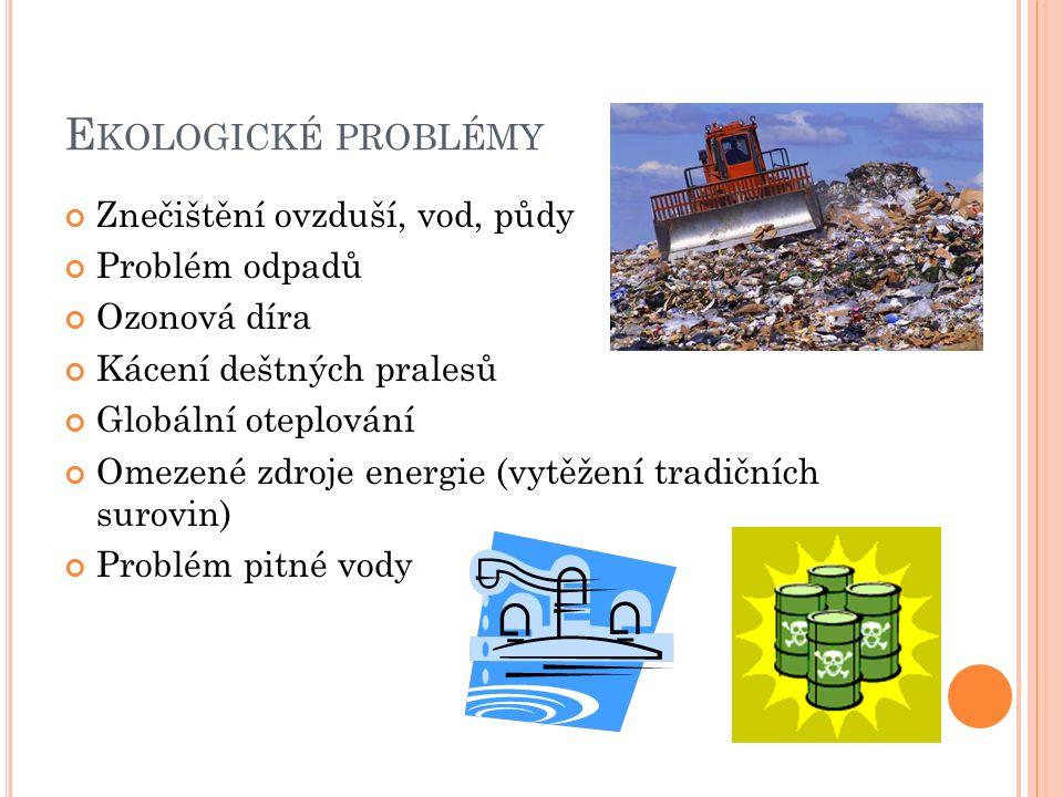 E KOLOGICKÉ PROBLÉMY Znečištění ovzduší, vod, půdy Problém odpadů Ozonová díra Kácení deštných pralesů Globální oteplování Omezené zdroje energie (vytěžení tradičních surovin) Problém pitné vody