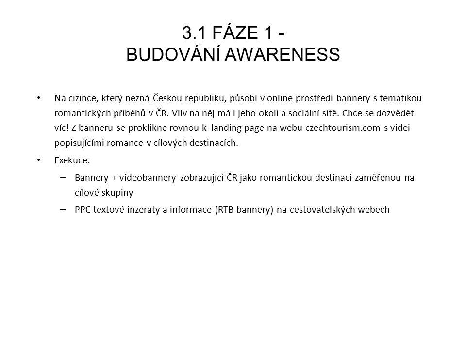 3.2 FÁZE 2 - ZTOTOŽNĚNÍ UŽIVATELŮ S ČR Na microsite se díky atraktivnímu videoobsahu uživatel seznámí s lokalitami a jejich možnostmi.