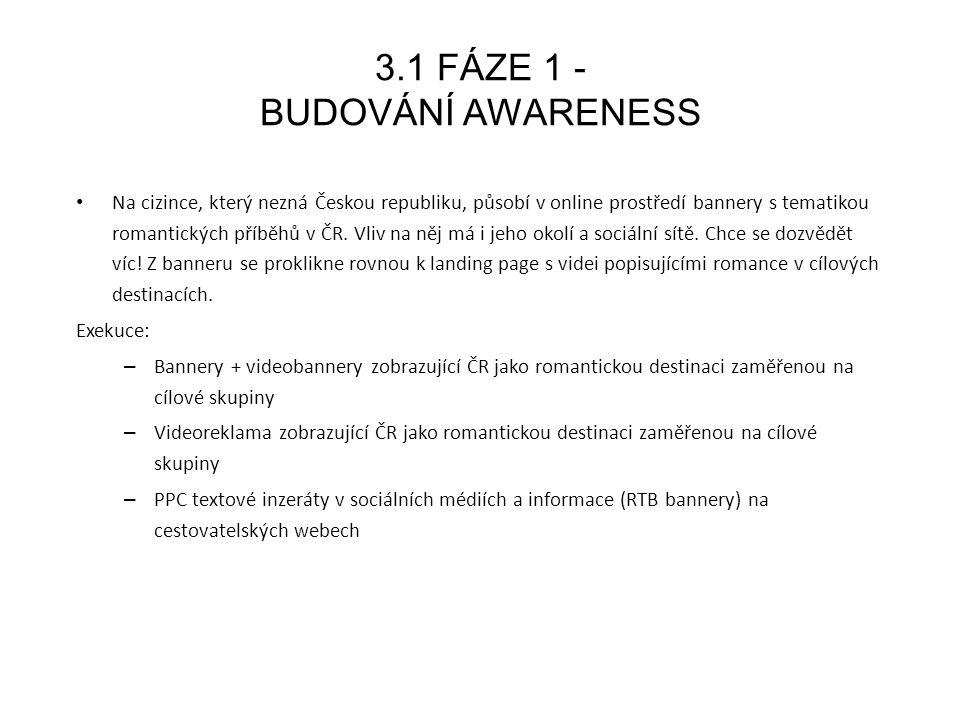 3.2 FÁZE 2 - ZTOTOŽNĚNÍ UŽIVATELŮ S ČR Na stránce se díky atraktivnímu videoobsahu uživatel seznámí s lokalitami a jejich možnostmi.