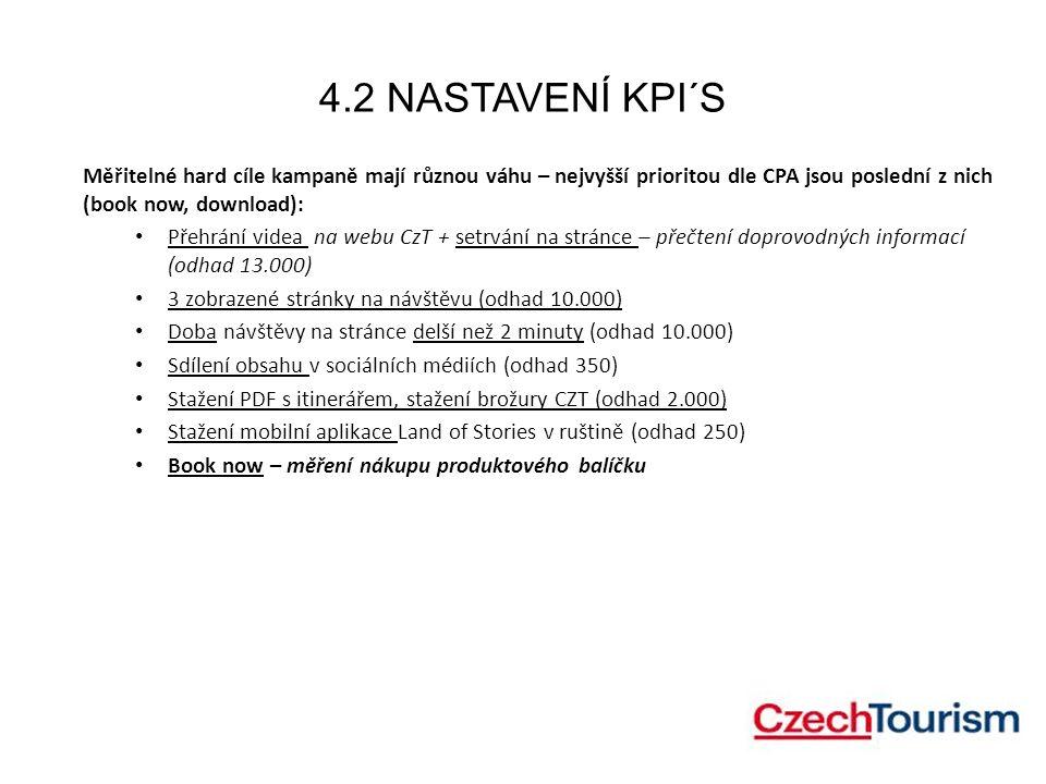 4.2 NASTAVENÍ KPI´S Doporučená váha jednotlivých KPI´s s použitím koeficientu K: Přehrání videa na microsite CZT (K=1) 3 zobrazené stránky na návštěvu (K = 2) Doba návštěvy delší než 2 min (K = 2) Sdílení obsahu v soc.