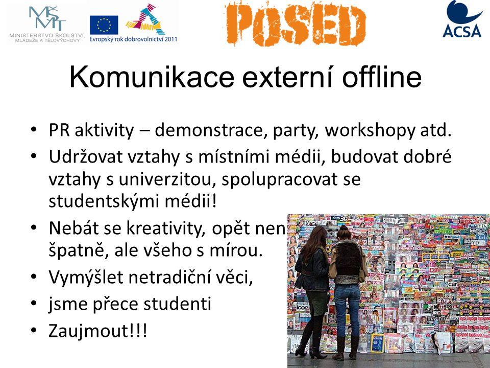Komunikace externí offline PR aktivity – demonstrace, party, workshopy atd.