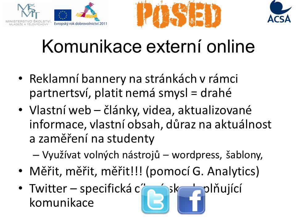 Komunikace externí online Reklamní bannery na stránkách v rámci partnertsví, platit nemá smysl = drahé Vlastní web – články, videa, aktualizované informace, vlastní obsah, důraz na aktuálnost a zaměření na studenty – Využívat volných nástrojů – wordpress, šablony, Měřit, měřit, měřit!!.