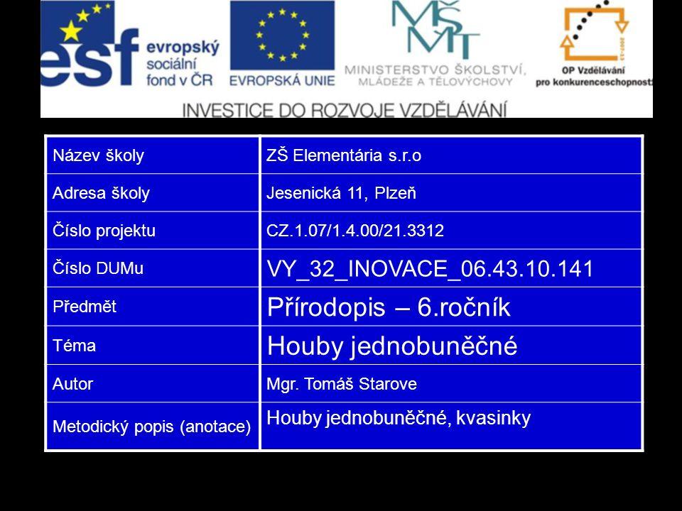 Název školyZŠ Elementária s.r.o Adresa školyJesenická 11, Plzeň Číslo projektuCZ.1.07/1.4.00/21.3312 Číslo DUMu VY_32_INOVACE_06.43.10.141 Předmět Pří