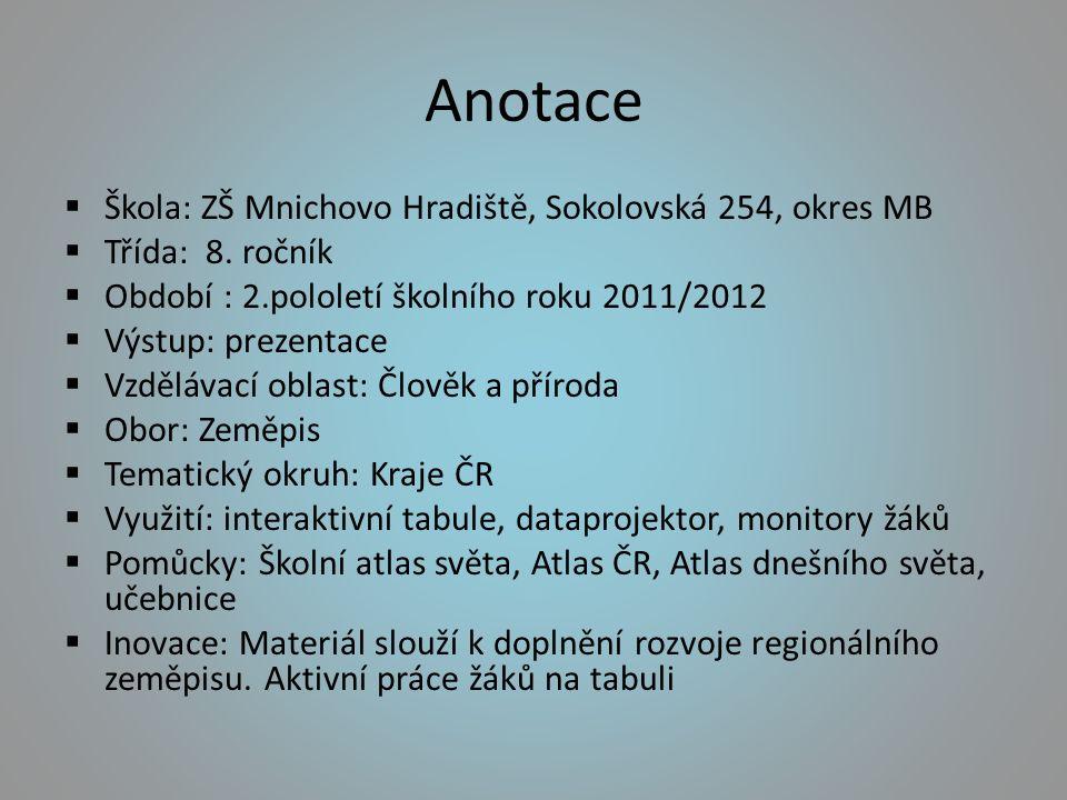 Anotace  Škola: ZŠ Mnichovo Hradiště, Sokolovská 254, okres MB  Třída: 8.