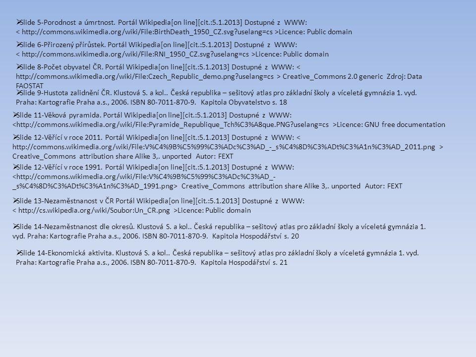  Slide 5-Porodnost a úmrtnost. Portál Wikipedia[on line][cit.:5.1.2013] Dostupné z WWW: Licence: Public domain  Slide 6-Přirozený přírůstek. Portál
