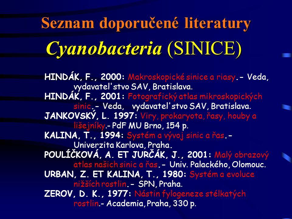 Seznam doporučené literatury Cyanobacteria (SINICE) HINDÁK, F., 2000: Makroskopické sinice a riasy.- Veda, vydavatel'stvo SAV, Bratislava. HINDÁK, F.,